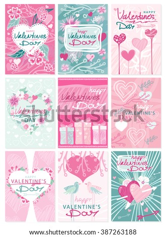 Happy Valentines Day party flyer posters. Hipster Valentines Day typographic tags and labels emblems and cards ornaments, hearts, ribbon and arrow. Greeting card poster, menu, party invitation