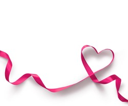 Happy Valentines Day. Pink Ribbon Heart on white background. Valentines Day concept
