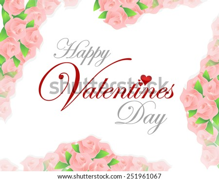 happy valentines day pink roses card illustration design over a white background #251961067