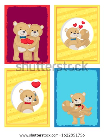 Happy Valentines day posters set teddy bears couple, female in paws of lovely male hold his heart, raster illustration of merry lovers animals isolated