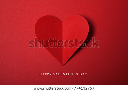 Happy Valentines day, Red Heart from paper. Good Holiday Card. #774132757