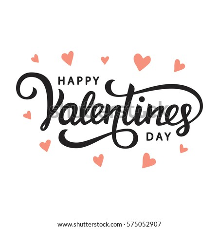 Happy Valentines Day typography poster with handwritten calligraphy text, isolated on white background. Illustration #575052907