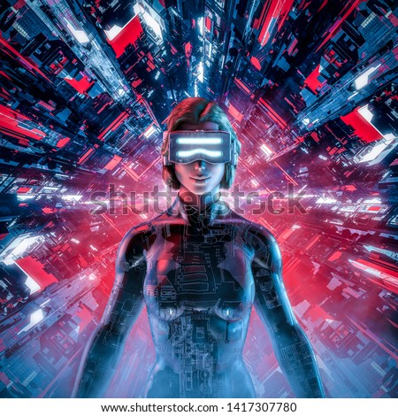Happy virtual gamer woman / 3D illustration of smiling female figure wearing virtual reality glasses and suit in glowing cyberpunk computer core