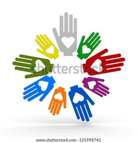 Happy volunteering hands representing love, three-dimensional rendering