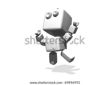 Happy white funny robot jumping; 3-d computer generated illustration. Subject isolated on white background.