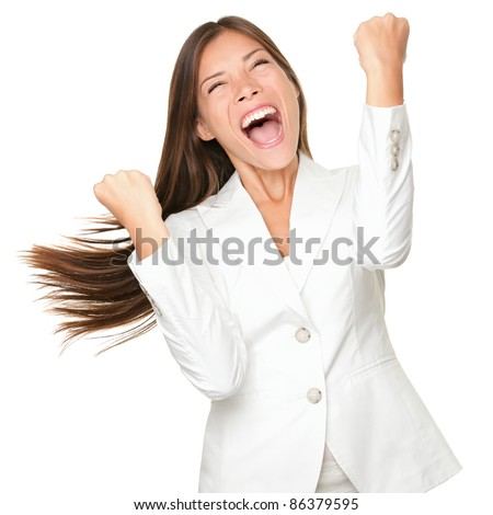 Happy winner. success business woman celebrating screaming and dancing of joy winning. Beautiful mixed race Chinese Asian / Caucasian businesswoman cheerful for her succes Isolated on white background