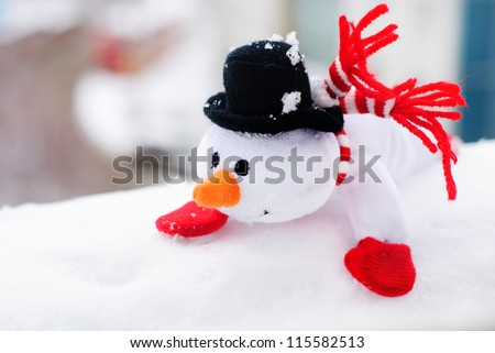 happy winter christmas snowman with carrot and eyes
