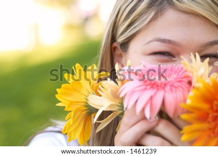 happy with flowers