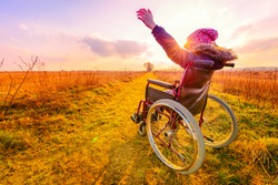 Happy woman at sunset. A young girl in a wheelchair - back view