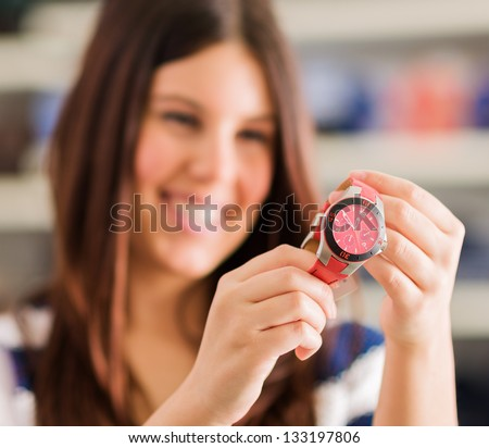 Happy Woman Buying New Wristwatch, Indoors