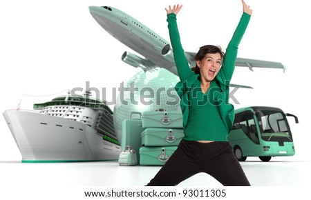 Happy woman celebrating her departure on a world tour