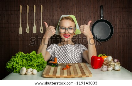 Happy woman cook with okay sign, vegetable on desk