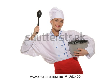 happy woman-cook with pan and spoon on blue background