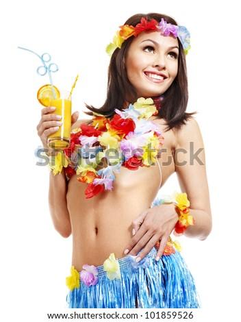 Happy woman drinking juice of Hawaii.
