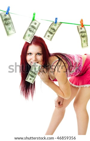 Happy woman dry cash standing in attractive pose