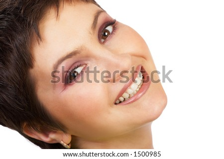Happy woman face smiling