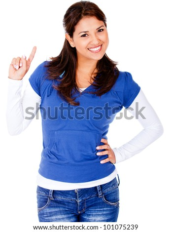 Happy woman having an idea - isolated over a white background