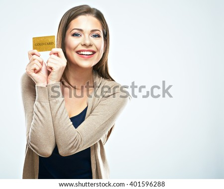 Happy woman hold credit card. White background isolated. #401596288