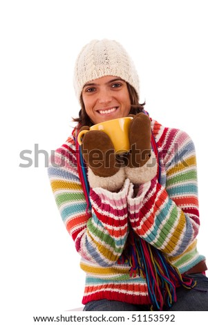 happy woman holding a cup  (isolated on white)