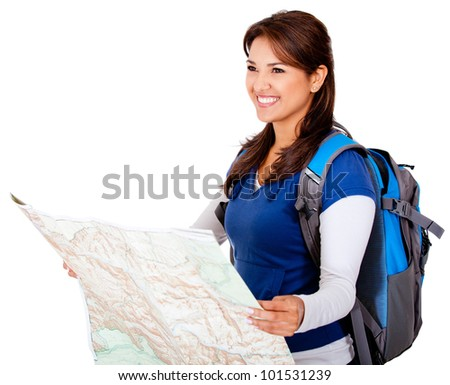 Happy woman holding a map - isolated over a white background