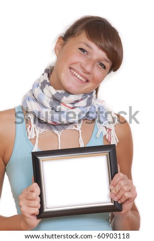 happy woman holding small photo frame - isolated on white background
