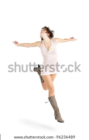Happy woman in a rose dress running, isolated on white