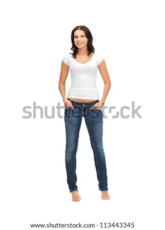 happy woman in blank white t-shirt