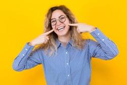 Happy woman in eyeglasses