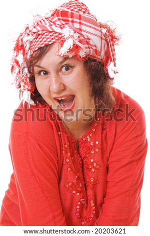 happy woman in red isolated on white background