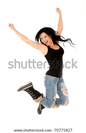 Happy woman jumping - isolated over a white background - stock photo