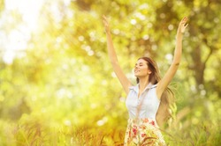Happy Woman Life Style, Smiling Girl Raised Open Arms, Active Outdoor Relax in Nature