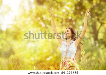 Happy Woman Life Style, Smiling Girl Raised Open Arms, Active Outdoor Relax in Nature #641391685