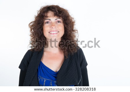 Happy woman looking at the camera isolated #328208318