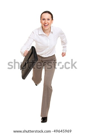happy woman running to the work. isolated on white