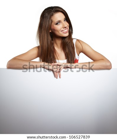 Happy  woman showing blank sign board.