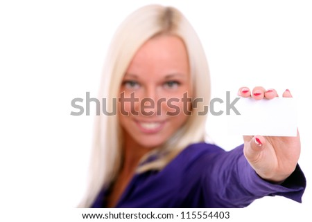 Happy woman showing her business card over white background