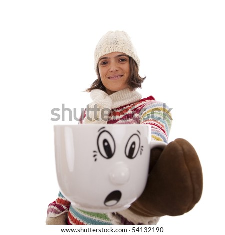 Happy woman showing her hot drink cup with a surprised face (isolated on white)