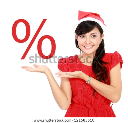 happy woman showing sale discount promotion