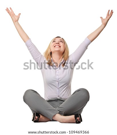 happy woman sit on white background