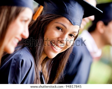 Happy woman smiling in her graduation day