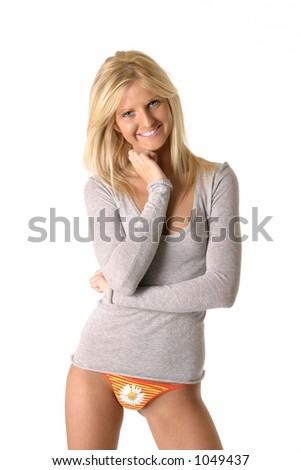 Happy woman smiling wearing a grey long sleeve t shirt for T shirt and panties