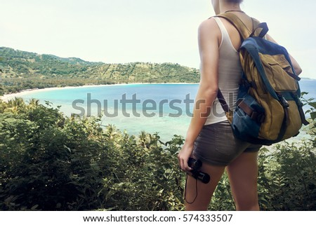 happy woman tourist with...