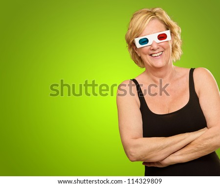 Happy Woman Wearing 3d Glasses Isolated On Green Background