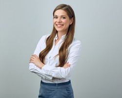 Happy woman wearing white shirt. isolated portrait of young business woman.
