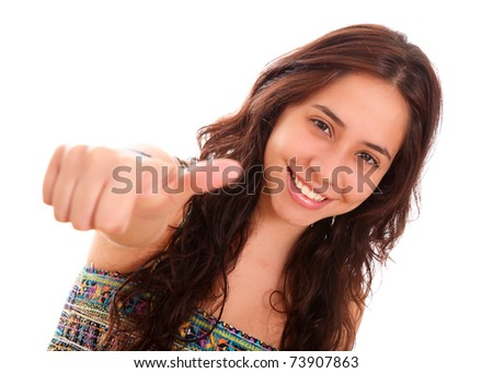 Happy woman with a gesture of positivism in his hand