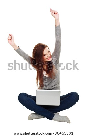 Happy woman with a laptop isolated over a white background