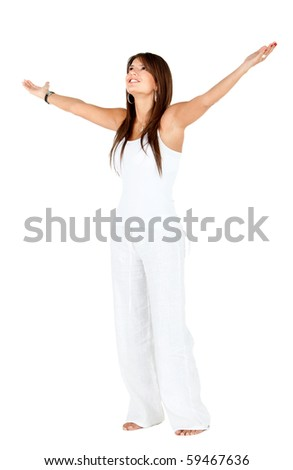Happy woman with arms open - isolated over a white background