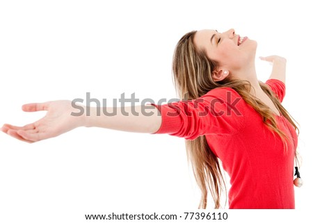 Happy woman with arms open - isolated over white