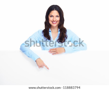 Happy woman with banner. Isolated on white background.