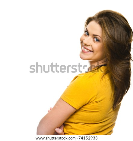 happy woman with  big smile has turned back